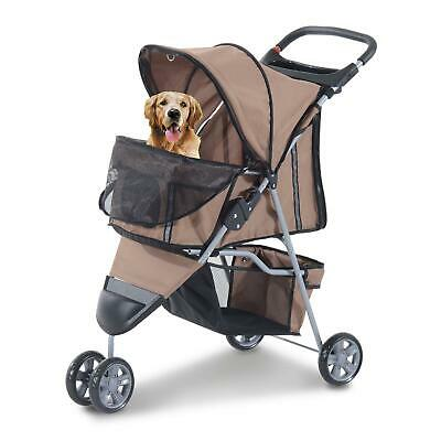 Brown 3 Wheel Pet Stroller Dog Cat Jogging Pushchair Buggy Animal Travel Carrier