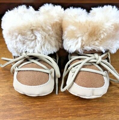 Carter's Baby Girl Or Boy Shoes Winter Suede Fur Boots Brown Size Eu 18 / Uk 2