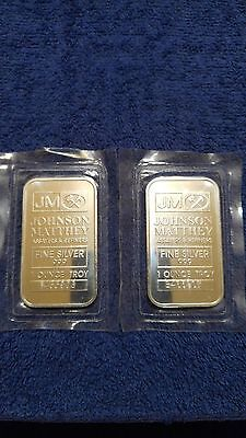 JOHNSON MATTHEY 1 TROY OZ. OUNCE .999 SILVER BAR MINT SEALED BARS (Lot 2 Bars)