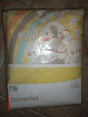 Mothercare Coverlet fit Cot or cot bed yellow poly/cotton bunny print BNIP