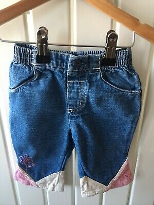 Baby Girl's Clothes 3-6 Mths - Pull On Corded Detail Funky Jeans FREE POSTAGE 🌹
