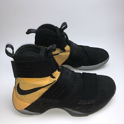 ce1c957c893 Nike Lebron James Soldier 10 LRJ SX 16 17 Black And Yellow Men s Size 7.5