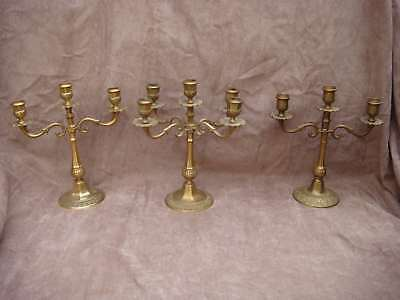 Lot 3 anciens CHANDELIERS candélabres en laiton ou bronze doré - VB2780