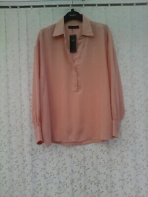 Bnwt Size 14 Blush  Long Sleeved Top Y Neckline  & Collar  By  Marks & Spencer