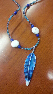 Native American Made Blue & White Turquoise & Crystal Blue Jay Feather Necklace