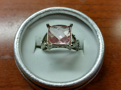 Large Faceted Pink Rose Zircon Stone Ring Size 7 Silver Free Gift Box MAKE OFFER