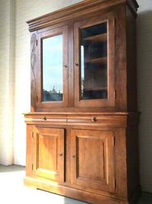C1900 Solid Oak Arts & Crafts Library Bookcase Kitchen Cupboard Display Cabinet