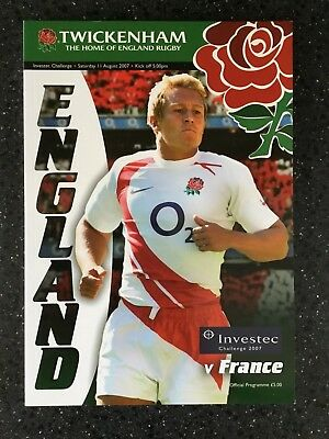 Rugby Union Programme : England v France Investec Challenge : 11 August 2007