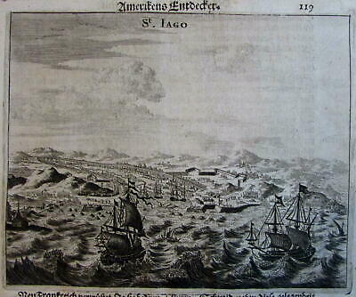 St Jago Santo Domingo harbor 1676 antique engraved Ogilby view print