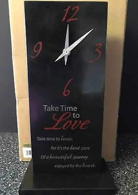 "*New Mantel Shelf Clock Black Slate Marble ""Take Time to Love"" 12 1/4"" x 6 1/4"""