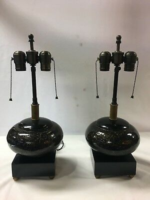 Pair of Vintage Antique 1940s French Ceramic Lamps