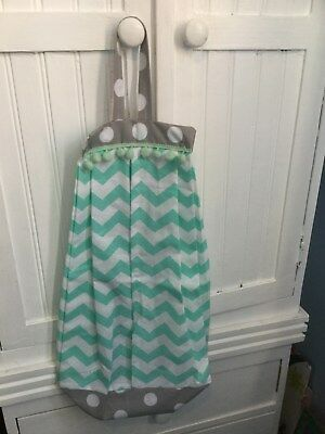 BABY NAPPY STACKER NURSERY MINT GREEN GREY boy girl chevron modern vintage baby