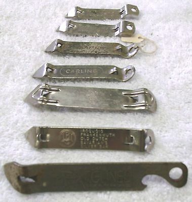 VINTAGE BOTTLE & CAN OPENERS--LOT of 7--CARLING-DUQUESNE-VAUGHAMS-ANCO-IROQUOIS!