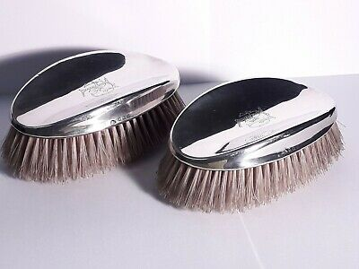 Pair Sterling Silver Clothes Brushes 1922