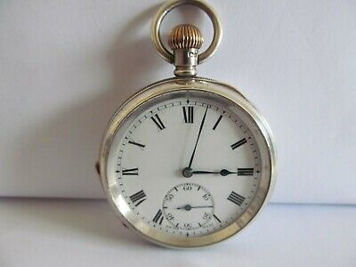 1909 Swiss made pocket watch soid silver very good condition and working