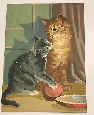 Vintage Paint By Number Cat Gray Kitten Cuddle Ball Bowl Completed Painting MCM