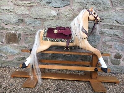 Fully Restored Girls Palomino Antique Rocking Horse -  Toy Horse With History