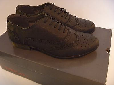 Emilio Luca X Dilis Shoes Ladies Lace Up Brogue School Office Work Girls Black