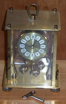 Vintage Kern brass & glass perpetual anniversary 400d clock, needs slight attn.