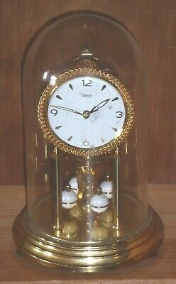 Vintage Kundo 400d perpetual anniversary glass dome clock, needs slight attn.