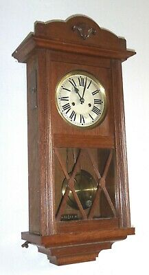 Excellent large early 20th century wooden case wall clock, GWO