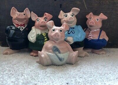 NatWest Pigs Full Set Family Piggy Banks by Wade England Stoppers Excellent Con