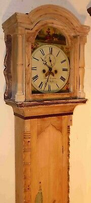 """Antique  Pine  Cornwall  """" St  Ives  """"  8 Day Grandfather / Longcase Clock"""