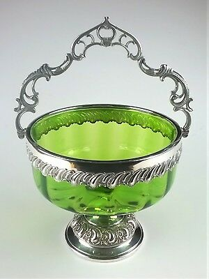 Green Glass Bowl Dish Silvertone Foot Rim Handle Bon Bon Sweetmeat Candy Footed