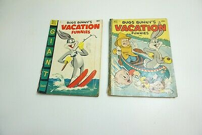 2 Vintage Dell Bugs Bunny's Vacation Funnies Giant Comics #2 And 5 1952 And 1955
