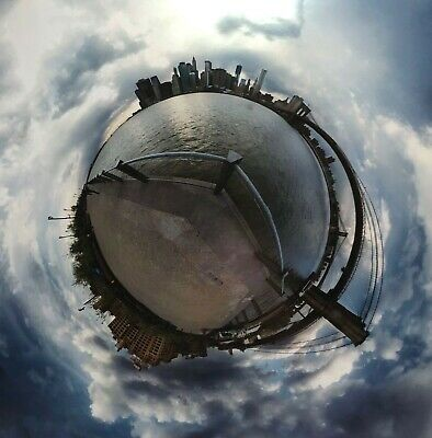 "Signed 2012 New York City 360 Degree Photograph Print 17"" X 16.25"""
