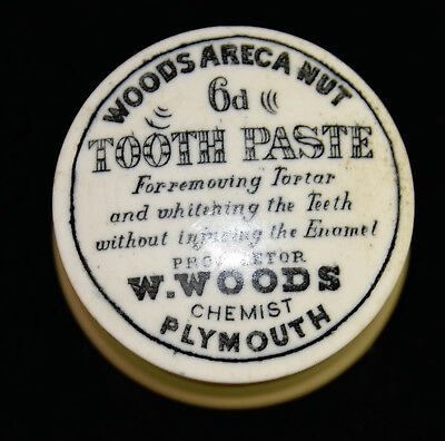 Antique 19th Century Tooth Paste Jar & Lid - W Woods Chemist - Rare