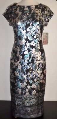 BEIGE BY ECI MULTI- COLOR FLORAL FOIL PRINT SCUBA DRESS Sz 8 NWT ANTHROPOLOGIE