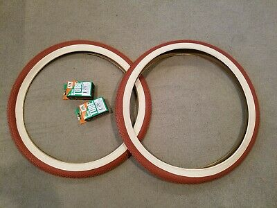 DURO 26X2.125 BEACH CRUISER BICYCLE DIAMOND PATTERN CLAY /&  2 TUBES 2 TWO