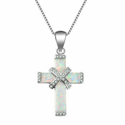 925 Sterling Silver Christian Jesus Christ Cross Catholic Crucifix Opal Necklace