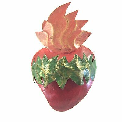 "Sacred Heart Tin Milagro Mexican Hand Painted Wall Hanging Folk Art 3.75""H"