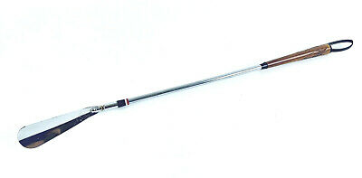 Long reach shoe horn with flexable shaft and carved wooden handle Japan