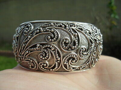 lois hill beaded textured domed scroll wide sterling silver cuff bracelet 72g!!