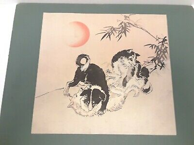 Authentic Japanese Woodblock Print Of Wolves or Dogs. Documentation RARE