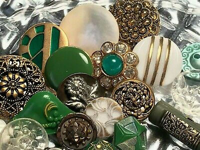 Lot of 20 Vintage Antique Tiny Treasures Glass Rhinestone Shell Metal Buttons