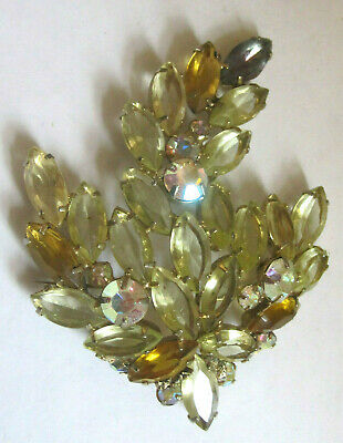 Vintage Faceted Prong Set Glass Stone Rhinestone Leaf Large Brooch Pin