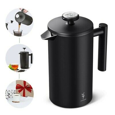 Soulhand French Press Coffee Maker with Thermometer ,Double Wall Black Stainless
