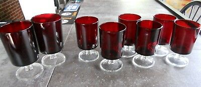 Set of 8 Cavalier Ruby by CRISTAL D'ARQUES-DURAND Luminarc glasses