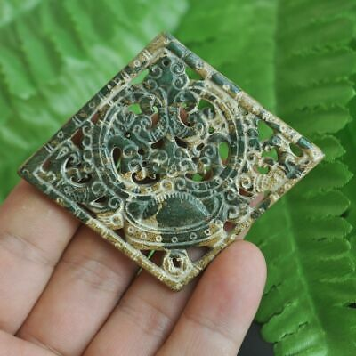 Chinese ancient old hard jade hand-carved pendant necklace ~Yuanbao M21