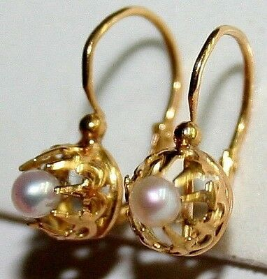 ANTIQUE VICTORIAN FRENCH 18k GOLD 2.5mm PEARL FINE SMALL CHILD EARRINGS c 1880