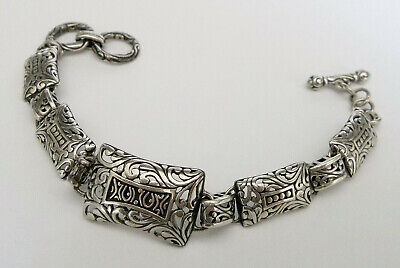 Vintage STERLING SILVER SCROLL FILIGREE LINK BRACELET