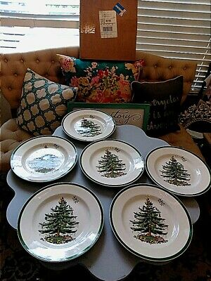 Set of 6 SPODE Christmas Tree Dinner Plates, Made in England AND A SALAD BOWL