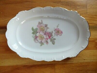 "Schumann Bavaria Golden Crown Arzberg BRIAR ROSE Oval 14"" Serving Platter mint"