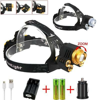 Zoomable 90000LM  5 LED USB Headlight 5 Modes Torch 18650 Battery Charger BG