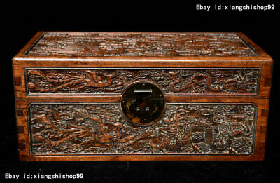 China Folk Huanghuali Wood Carving lucky Dragon Phoenix Chest Jewelry Box casket