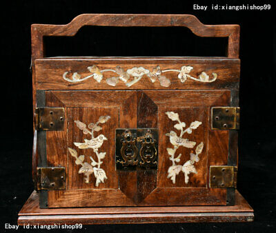 China Huanghuali Wood inlay Shell handcrafted portable Jewelry Box Storage boxes